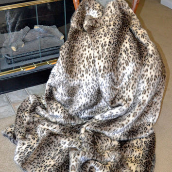 "Stunning Leopard Faux Fur, Fake Fur Blanket Throw, Animal Print Blanket Throw, 72"" x 60"", Ready to Ship!"