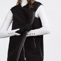 Black Lamb Wool Sleeveless Zipper Leather Coat