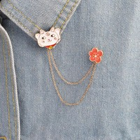 Cartoon Red Flower Bells Cat Kitten Brooch Animal Button Pins with Chain Denim Jacket Collar Lapel Pin Badge Fashion DIY Jewelry