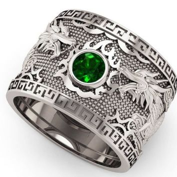Emerald Silver Dragon Mens Ring Genuine Emerald Ring Gift for Man Large Big Green Engraved Ring