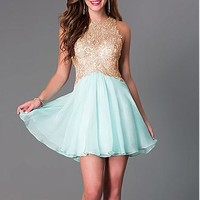 Buy discount Chic Tulle & Chiffon High Collar Neckline A-line Homecoming Dresses with Beaded Lace Appliques at Dressilyme.com