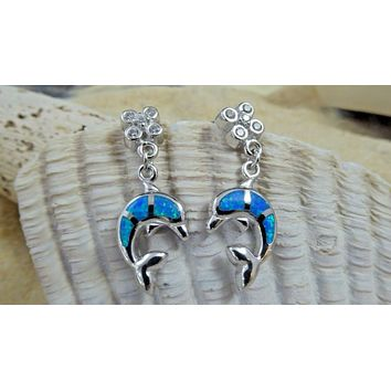 REAL STERLING SILVER BLUE OPAL DANGLE POST DOLPHIN EARRINGS WITH CZ