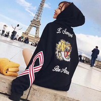 GUCCI Tiger Embroidery Casual Top Sweater Hoodie