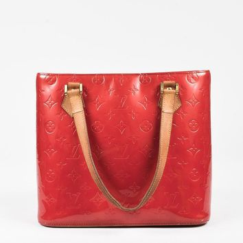 Tagre™ Louis Vuitton Red Vernis Leather Tan Handle Houston Tote Bag,most popular women red