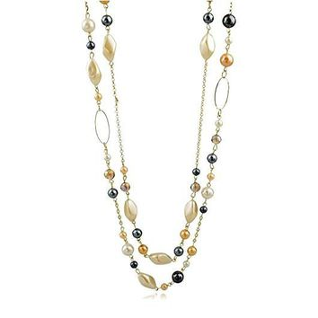 Multi-Strand Simulated Pearl, Faceted Crystal Bead Layered Necklace