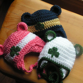 Baby hat for Newborn to 12 months St. Patrick's Day shamrock or Notre Dame Irish colors
