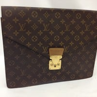 Auth Louis Vuitton Monogram Porte documents Senateur Briefcase Vintage 8C070880#