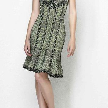 Olive Green Print Halter Bandage Dress
