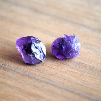 Raw Amethyst Stud Earrings, Amethyst Gemstone Earrings, Surgical Steel Posts