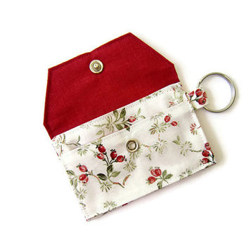 Mini key chain wallet/ simple ID Key chain pouch / Business card holder/ keychain coin purse / Red flowers pattern
