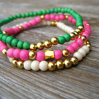 Arm Candy Beaded Bracelets Stackable Bracelets Stretch Bracelets Pink Green Cream Gold Cute Teen Gift Ready To Ship