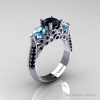 14K White Gold Three Stone Black Diamond Blue Topaz Solitaire Ring R200-14KWGBDBT