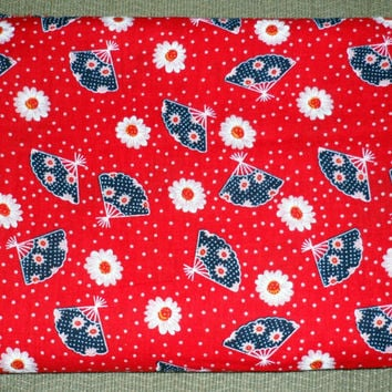 COTTON CALICO PRINT Fabric/Red/White/Blue Colours/Patriotic Colour Theme/Fans/Daisies/Polka Dots on Red Background/Pre-Washed and Ironed