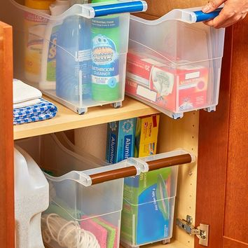 Space Saver Rolling Storage Bin Bathroom Kitchen Pantry Closets Office Crafts