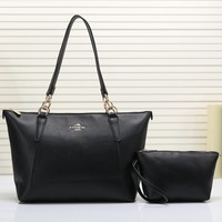 COACH Women Shopping Leather Handbag Tote Shoulder Bag Two Piece Set