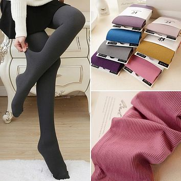 F New Spring Winter Women Tights Stripe Velvet Hosiery Solid Candy Color Collants Femme Standard Stockings Pantyhose For Woman