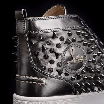 cc DCCK Christian Louboutin Full Silver Wild Spikes
