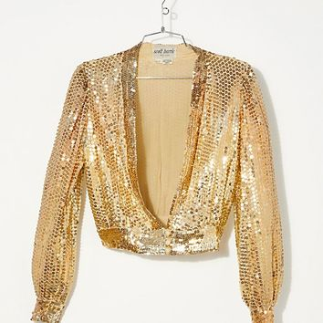 Vintage 1970s Gold Sequin Top