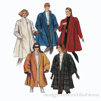 1990s Flared SWING COAT Coat, Unlined Cape Shawl Collar 2 Lengths McCalls 5645 UNCUT Vintage Sewing Pattern Size 14-16 Bust 36-38