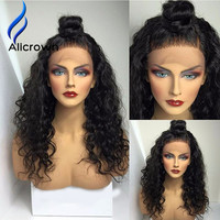 Alicrown Silk Top Full Lace Wigs Human Hair With Baby Hair 10a Brazilian Human Hair Lace Front Wigs Black Women Curly Lace Wig
