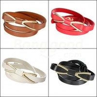 Fashion Women Lady Metal Butterfly Bowknot Skinny Thin PU Leather Waistband Belt Free Shipping!  - US$2.69