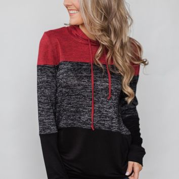 Womens Red Black Color Block Long Sleeve Pullover Knit Hoodie