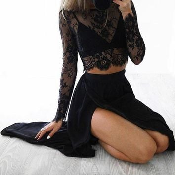 Sexy Women Sheer Floral Lace Blouse O-Neck Long Sleeve Mesh Lace Crop Top Spring See-through Shirt Top Clubwear Black/White