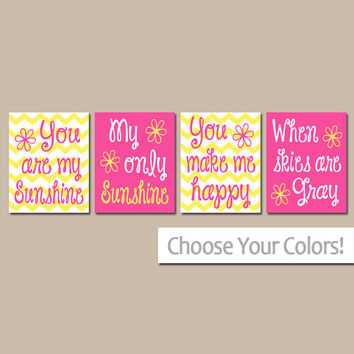 You Are My SUNSHINE Wall Art, Hot Pink Yellow Sunshine Chevron CANVAS or Prints Nursery Rhyme, Baby Song Artwork Set of 4 Girl Bedroom Decor