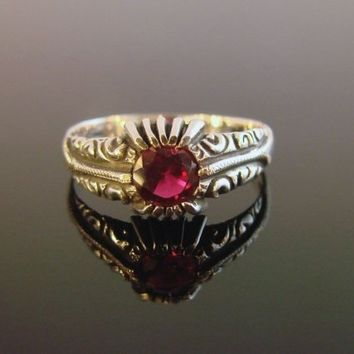 Sterling Silver Ring with Rhodolite Garnet by Firefallstudios