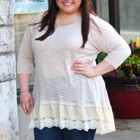 Ruffled Lace Knit Top in Tan {Curvy}