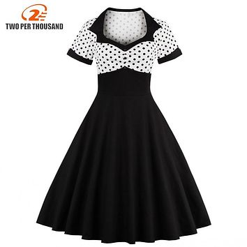 2017 Summer Women Dress Retro 1950s 60s Dress Female Polka Dots Pinup Rockabilly Sexy Party Dresses Vintage Tunic Vestidos Mujer
