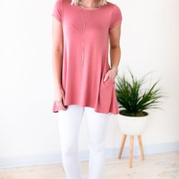 Take Notes Dusty Rose Hidden Pocket Tunic