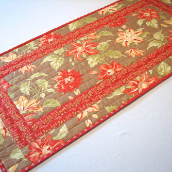 Floral Table Runner, Quilted Table Topper, Taupe/Coral