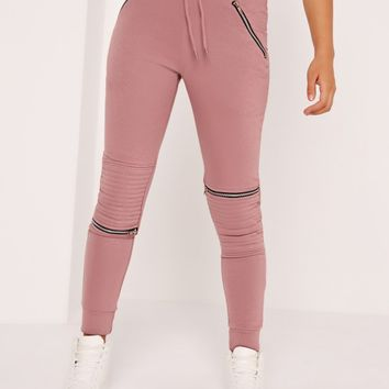 Missguided - Zip Detail Biker Joggers Pink