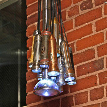 Vintage Flashlight Hanging Pendant Light Fixture