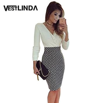 Sexy V Neck Long Sleeve Black and White Dress Pencil Women Formal Dresses for Work Party Women Tunic Midi Bodycon Office Dress