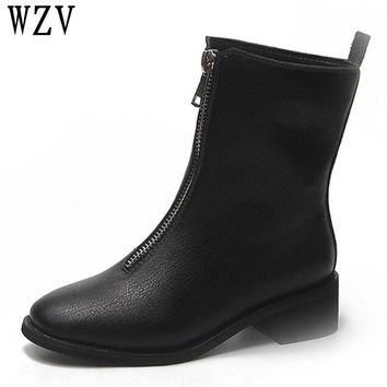 Women Boots Square Low-heeled Platforms Leather High Pump Boots Shoes Woman botas ug australia mujer Female Winter Boots K282