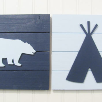 Tribal Nursery, Nursery Decor, Tribal Decor, Woodland Decor, Nursery Wall Art, Pallet Board, Pallet Sign, Tee Pee, Woodland Animals, Bear