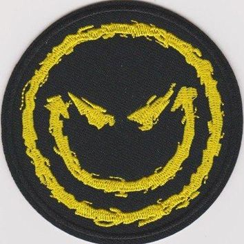 Disturbed Iron-On Patch Round Yellow Happy Face Logo