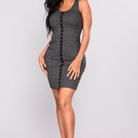 Stacy Midi Dress - Charcoal