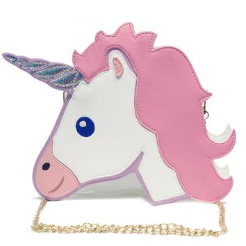 Fashion Funny Women Unicorn Bags Clutch Mini Party Bag Shoulder Chain Pouch Purse Messenger Unique Wallet for Girl Cartoon BA013