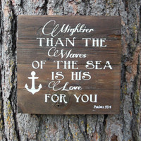 """Joyful Island Creations """"Mightier than the waves of the sea is his love for you"""" wood sign/ anchor signs/ boy nursery sign"""
