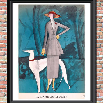 Antique French Fashion 1920s Flapper Art Print Sky Blue Dog Art Nouveau Digital Wall Home Decor Printable Digital Download
