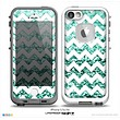 The White Chevron Aqua Green Glimmer Skin for the iPhone 5-5s frē LifeProof Case