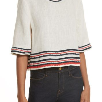Tory Burch Florentina Embroidered Linen Top | Nordstrom
