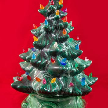 Vintage Tabletop Ceramic Christmas Tree - Green Ceramic - Lights up with Bulbs, and Birds