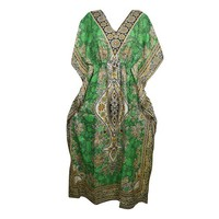 Mogul Womens Green Printed Kimono Caftan Beach Bikini Cover Up Loungewear Holidays Dresses - Walmart.com