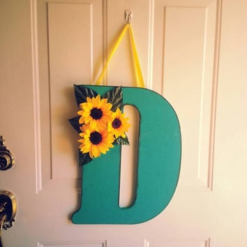 Monogram Wooden Door Wreath/ Spring Wreath/ Door Hanger/Wall Hanging in Torquoise with Sunflowers