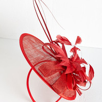 Statement Tilt the End of Time Fascinator in Rouge by ModCloth