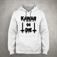 Kawaii or die - inverted cross - Dripping & melting style - Gray/White Unisex Hoodie - HOODIE-033